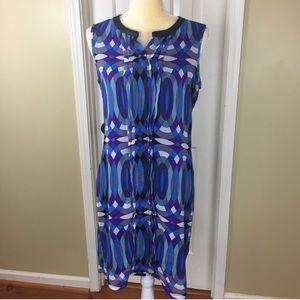 Banana Republic Purple and Blue Sheath Dress Sz 8